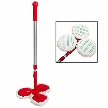 Rejuvenate 3-Disc Microfiber Spin Mop Flex-Neck Rotating Washable Cleaning Heads