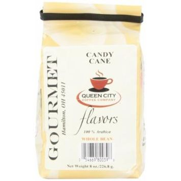 Queen City Candy Cane Flavored Whole Bean Coffee, 8-Ounce Bags (Pack of 3)