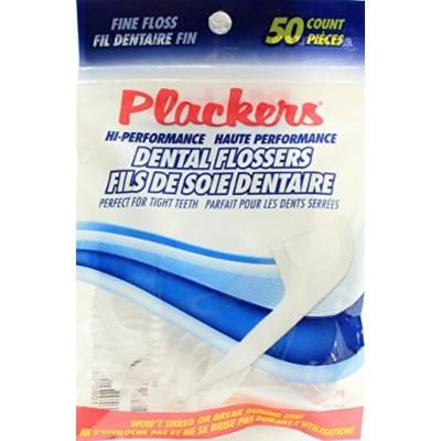 50 Count Plackers Hi-Performance Fine Dental Flossers for Clean Healthy Teeth (Pack of 2)