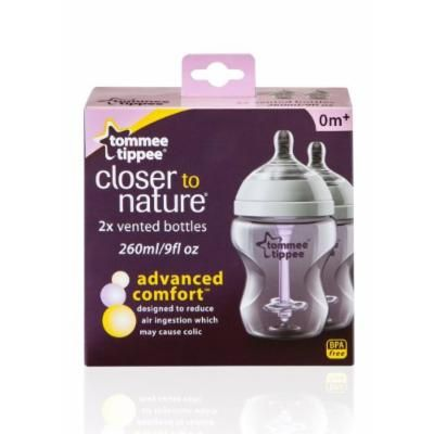 Tommee Tippee Closer Nature Advanced Comfort 260ml Baby Feeding Bottles 2 Pack