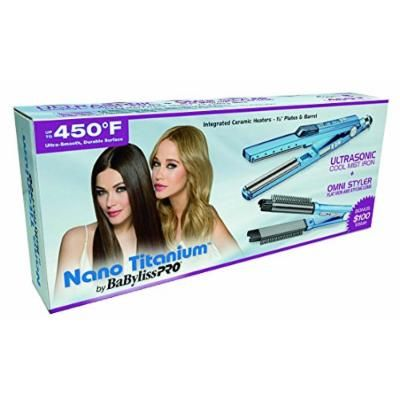 """BaByliss 1¼"""" Ultrasonic Cool Mist Hair Straightening Iron & BONUS FREE CERAMIC NANO TITANIUM Hair Straightener with Built-In Hair Styling Comb, Cool Touch Ryton Housing, Quick Heating and Instant Heat Recovery"""