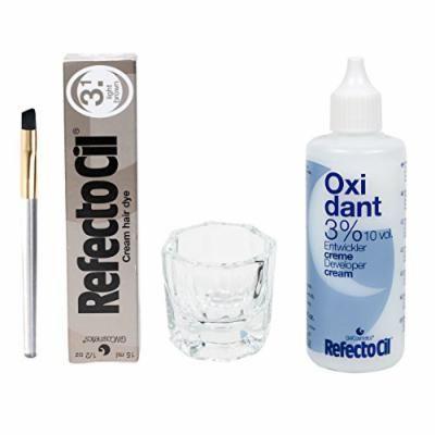Refectocil Cream 15ml, Cream Oxidant 3%, Mascara Brush, Mixing Jar (Light Brown)