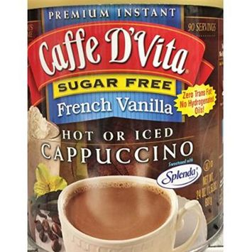 24oz Caffe D'Vita French Vanilla Instant Cappuccino Mix, Sugar Free, Pack of 1