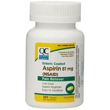 Quality Choice Enteric Coated Lo-Dose Aspirin 81mg. Tablet 365 Count , Boxes (Pack of 3)