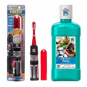 Exclusive Star Wars Darth Varder Lightsaver Soft Manual Toothbrush With Light Up Timer!! Plus Bonus Crest Pro-Health Jr. Star Wars Mouth Wash!