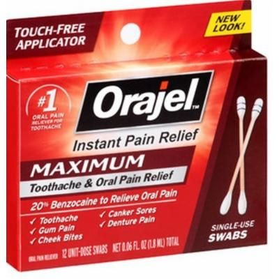 Orajel Maximum Toothache & Oral Pain Relief 12 Unit-Dose Swabs Pack of 6