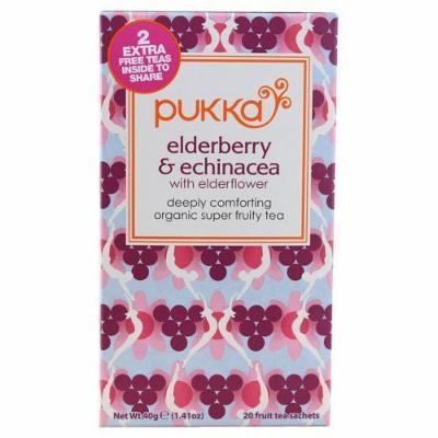Bulk Saver Pack 36x20 BAG : Pukka Herbal Teas Organic Elderberry and Echinacea with Elderflower - 20 Bags