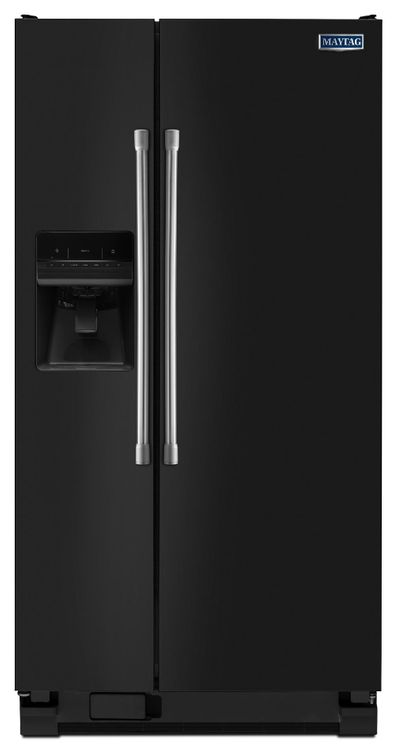 Maytag MSF25D4MDE 25.0 cu. ft. Side by Side Refrigerator with 4 Adjustable Spill-Proof Glass Shelves, 4 Adjustable Gallon Door Bins, Dairy Center and External Ice/Water Dispenser: Black