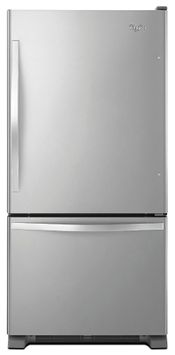 Whirlpool WRB322DMBM 21.9 cu. ft. Bottom-Freezer Refrigerator with SpillGuard Glass Shelves, Fixed Gallon Door Bin, Humidity Controlled Crispers, LED Lighting and Ice Maker: Stainless Steel