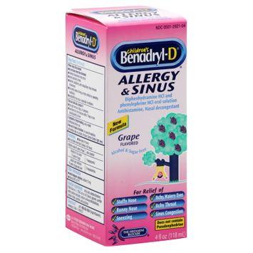 Benadryl Children's Allergy & Sinus, Grape Flavored
