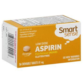 Kmart Corporation Aspirin, Low Dose, 81 mg, Orange Flavor Chewable Tablets, 36 tablets