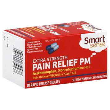 Kmart Corporation Smart Sense Pain Relief PM, Extra Strength, Rapid Release Gelcaps, 80 gelcaps