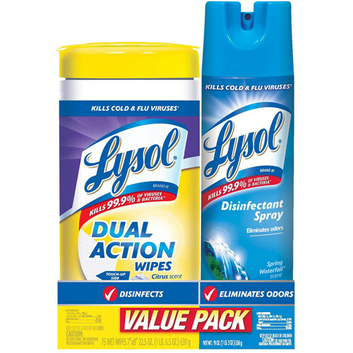 Lysol Dual Action Disinfecting Wipes & Waterfall Scent Disinfectant Spray Spring Set