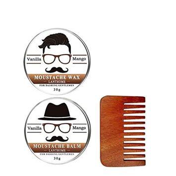Lotus.flower Lanthome 2Pcs 30g Beard Care Cream + 1 Pcs Handle Beard Comb Black Hair Barber Salon Tool (2Pcs Beard Care Cream + 1 Pcs Handle Beard Comb)