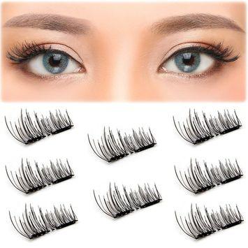 Magnetic False Eyelashes Upgraded Dual Magnetic Eyelash Extensions 3D Reusable Fake Lashes For Women Makeup, No Glue, Natural Look (8 PCS)