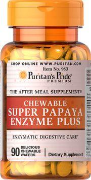 Puritan's Pride Chewable Super Papaya Enzyme Plus-90-Chewables