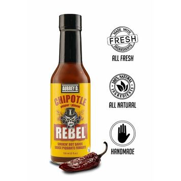 Aubrey D. Rebel Chipotle Hot Sauce, Spicy Smoky for BBQ Beans, Braised, Slow Cooked Meat, Chicken