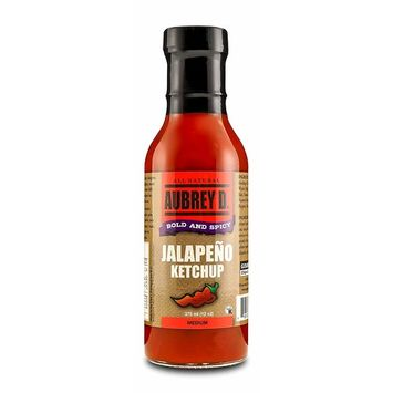 Aubrey D. Jalapeno Ketchup, Gluten Free Hot and Spicy Bold Sauce for BBQ Chicken Wings, Fish, Beef, Pork, Burgers, (12 oz).