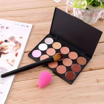 15-Colors Face Makeup Concealer Palette + Wood Handle Brush + Sponge Puff On Clearance