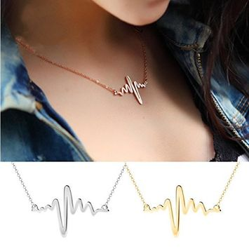 Sc0nni 2 Pcs New Women EKG Necklace Heartbeat Rhythm with Love Heart Shaped (Gold & Silver)