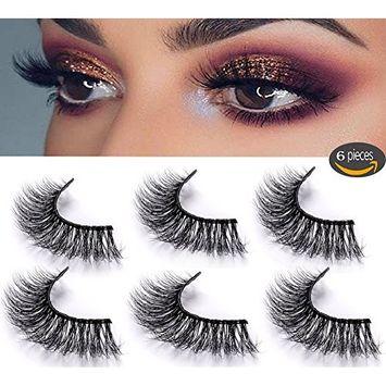 3D Mink Fake Eyelashes -100% Handmade 3D Mink Fur Eyelashes for Makeup with Natural Messy Volume Fluffy Long Hot Fake Eyelashes& Reusable Wispy Lashes 3Pair Package (Black-02)