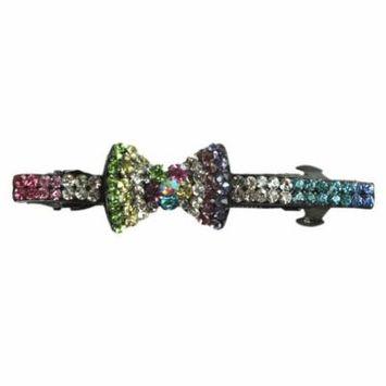 Rainbow Flower Bow Tie French Barrette Hair Clip