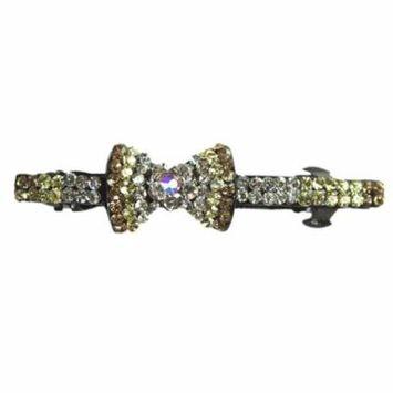 Amber Flower Bow Tie Flower French Barrette Hair Clip