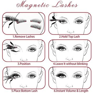 Magnetic Eyelashes, 3D Fiber Reusable 3 Magnet False Eyelash 1 Pairs 4 Pieces Handmade Extension for Natural,No Glue Needed (style 1)