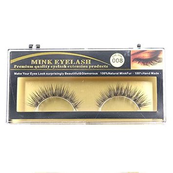 TOOGOO(R) 1 Pairs 100% Real Mink Soft Natural Cross long EyeLahes Makeup Extensions (Color: Black)