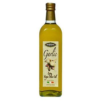 Mantova Garlic Italian Extra Virgin Olive Oil Bottles, 34 oz, 2 Pack