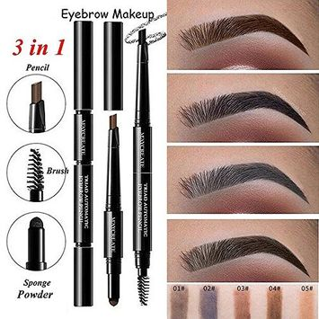 Alonea 3 in 1 Waterproof Multifunctional Automatic Eyebrow Pigment Makeup Kit Brow Brushes Beauty Cosmetic Tool 5 Pack
