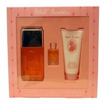 White Shoulders 3 Pc. Gift Set ( Eau De Cologne Spray 4.5 Oz + Body Lotion 3.3 Oz + Parfum 0.25 Oz) for Women by Evyan