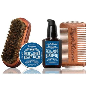 Pacific Prince Beard Balm, Beard Oil, 4Klawz Pocket Beard Comb & BoarKlawz Beard Brush Gift Set Complete Beard Care Grooming Kit Men's - Holiday...