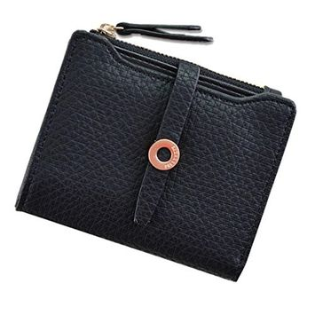 lotus.flower Womens Wallet Small Leather Rfid Blocking Credit Card Holder Minimalist Wristlet Card Case Wallet with Zipper Pocket
