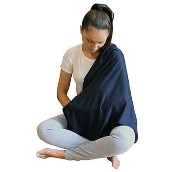 LK Baby Infinity Nursing Scarf Nursing Cover for Breastfeeding Privacy Stylish High Quality 100% Free of AZO and Harmful Chemicals Safe for Baby in Navy Blue