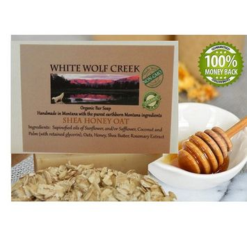 White Wolf Creek All Natural Organic Soap Skin Bar Soap for Hands Face and Body, Set of Two Bars (Shea Honey Oatmeal)