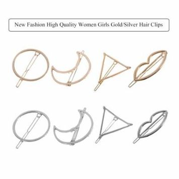 New Fashion High Quality Women Girls Gold/Silver Hair Clips Various Shapes