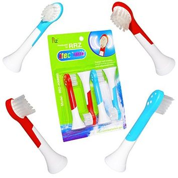ITECHNIK Replacement Kids Toothbrush Heads for Sonicare Kids Toothbrushes Heads Replacement, Compatible with Philips kids Electric Toothbrush, Blue 2 pcs, Red 2 pcs, 4 Count [4]