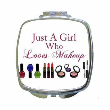 Just a Girl Who Loves Makeup - Expression - Makeup Print Design - Compact Square Face/Makeup Mirror