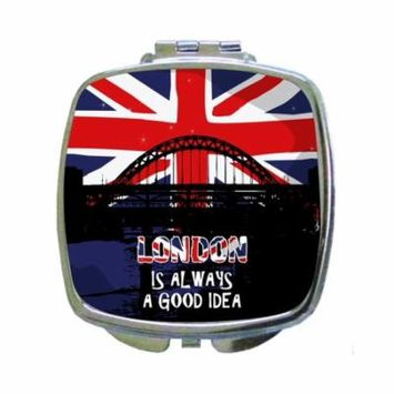 London is Always A Good Idea - Expression - London Bridge - British Flag - Compact Square Face/Makeup Mirror