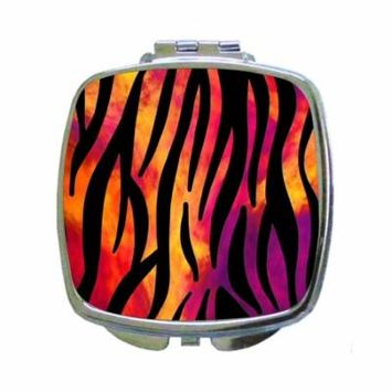 Watercolor Zebra Wildlife Animal Print - Square Shaped Compact Travel Pocket Size Beauty Mirror
