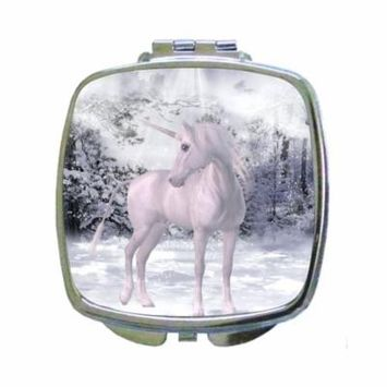 White Unicorn with a Halo - in the Snowy Woods - Compact Square Silvertone Mirror