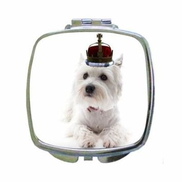 White Yorkie Puppy Dog Wearing a Crown - Compact Square Silvertone Mirror