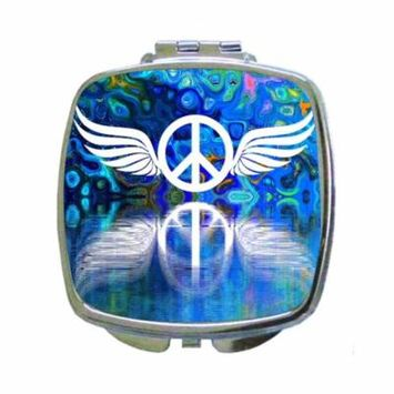 Kaleidescopic Peace Symbol with Wings in Blue Tones - Square Shaped Compact Travel Pocket Size Beauty Mirror