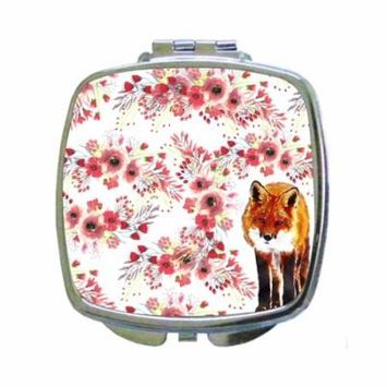 Watercolor Fox and Pink Wildflowers - Compact Square Silvertone Mirror