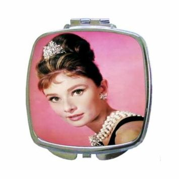 Audrey Hepburn British Celebrity Actress as a Girl - Square Shaped Compact Travel Pocket Size Beauty Mirror