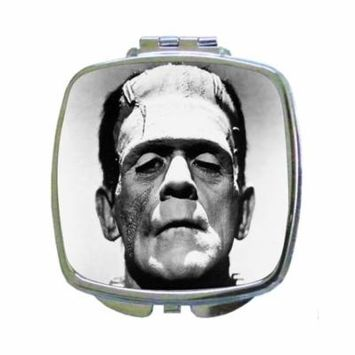 Up Close Image of Frankenstein's Monster - Square Shaped Compact Travel Pocket Size Beauty Mirror