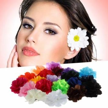 Multi-color use Woman Lady Satin Peony Flower Hair Clip Brooch Breastpin