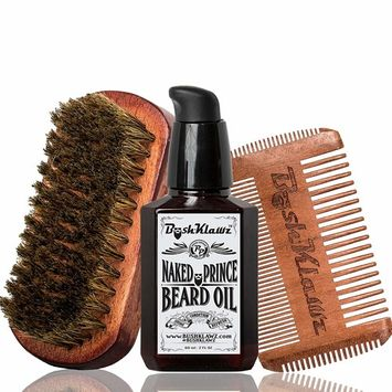 Lumber Prince Beard Oil, 4Klawz Pocket Beard Comb & BoarKlawz Beard Boar Brush Gift Set Beard Care Kit Grooming Bundle Set