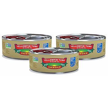 Genova, Wild Caught Yellowfin (Pack of 3), Yellowfin Tuna in Olive Oil, 5 oz (each)